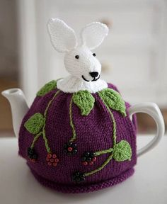 Blackberry Bunny Tea Cosy Hand Knitted Tea Cozy by CrystalMoonCat.