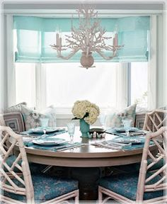 My future breakfast table, complete with ocean view. Plus, how awesome is that chandelier?