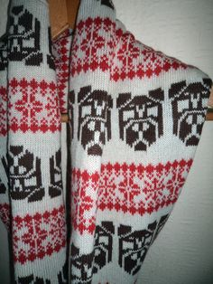Fair Isle Patterned Pug knitted Infinity Scarf/Snood by Willieratbag