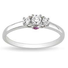 L'Amour Enrose by Miadora 14k Gold 1/4ct TDW 3-Stone Diamond and Pink Sapphire Ring (H-I, I2-I3) (Size 7), Women's