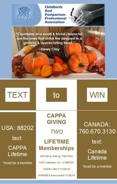 Text to Win 12 - 2 PM Eastern Standard Time #CAPPA #Gratitude #Lifetime #Membership #TextToWin