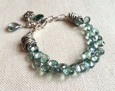 08539efdbaa7 Green Gemstone Charm Bracelet on Sterling Silver