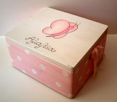 Wooden baptism/ toy box themed Butterfly at www.happyrooms.gr