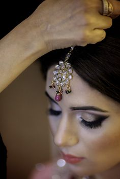 Traditional Pakistani bride wearing jeweled headpiece by Photography by Maria   Two Bright Lights :: Blog