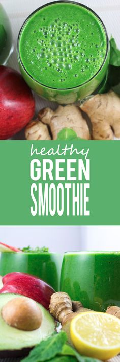 Healthy Green Smoothie Recipe - Light and wonderfully refreshing, super healthy and gluten free! A simple 6 ingredient smoothie that is one of my favorites!!