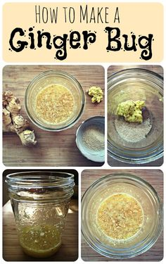 How to make a ginger bug (a fermented ginger base to use for ginger flavored water kefir, Kombucha or ginger beer). Methods Of Food Preservation, Healthy Drinks, Healthy Recipes, Healthy Food, Fermentation Recipes, Fermented Foods, Fermented Sauerkraut, Herbalism, Food And Drink