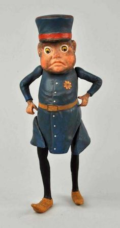 "Lot: 9"" Papier Mace Brownie Police Officer Figure., Lot Number: 1006, Starting Bid: $100, Auctioneer: Dan Morphy Auctions, Auction: Toys, Trains, Marbles & Dolls Sale Day 2, Date: September 11th, 2015 CDT"