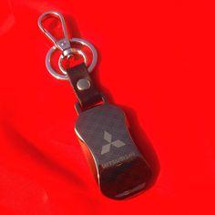 Latest Model Stylish Key ring keychain Metal Faux leather Keyring for MITSUBISHI Keyfob in Gift Box. cfm