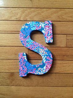 hand painted lilly pulitzer inspired wooden monogram letter dot dot hop