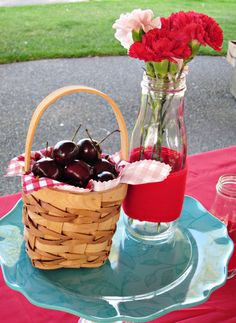 Red and Aqua Cherry Party Decor