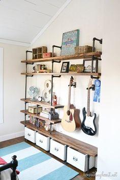 Guitar Hanger - DIY Industrial Shelves Jonathan's side of the room! - Beneath My Heart