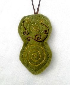 Earth Goddess Ornament - Goddess Yule Christmas Talisman Home Decor Pagan Autumn Mossy Green Moss Brown