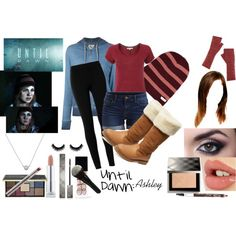 Until Dawn Costume/Cosplay: Ashley by creatingstars on Polyvore featuring 321, White Stuff, Max Studio, VILA, Atwell, London Road, Neff, Charlotte Tilbury, Burberry and Ciaté