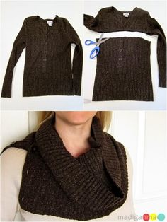 How to Upcycle a Sweater for a No Sew Winter Cowl DIY | Upcycle ...