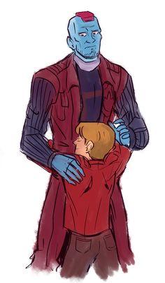 Yondu and peter Marvel Fan Art, Marvel Movies, Marvel Avengers, Superfamily Avengers, Spideypool, Kids Hugging, Yondu Udonta, Show Me A Hero, Loki Imagines