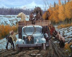 Western Art Paintings - Bing Images By John Phelps - I included this art in spite of having motorized transport because it is so hilarious. Cowboy Horse, Cowboy Art, Hunting Art, Lion Hunting, Cowboy Pictures, Arte Country, West Art, Mountain Man, Equine Art