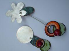 elza pereira silver and copper enamels
