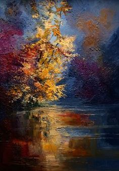 "Saatchi Online Artist Justyna Kopania; Unknown, ""Mist - River - Autumn"" #art"