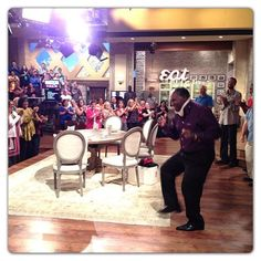 @TheTalk_CBS: B4 the show #TheTalk audience members cheer on our male dance off! #funtimes