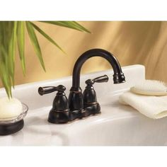 MOEN Banbury 4 in. Centerset 2-Handle High-Arc Bathroom Faucet in Bronze-CA84913BRB at The Home Depot