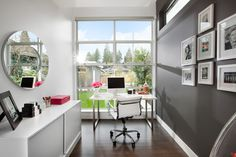 Home Office dark gray Design Ideas, Pictures, Remodel and Decor