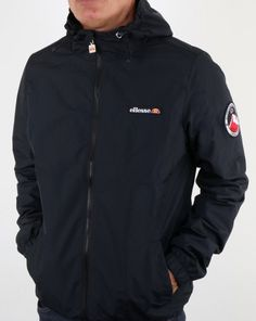 74371e02e96b39 Ellesse Terrazzo Jacket Black,hooded,rain,coat,kagoule,mens Ellesse Jacket