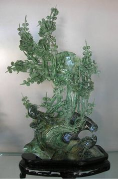 Jade Carving from Central China. Hand Crafted of Flowers and Birds Scenery. Carved from one single stone
