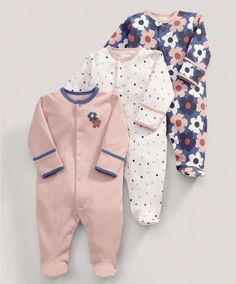 All-in-Ones (3 Pack) Large Floral Print - All Girls - Mamas & Papas