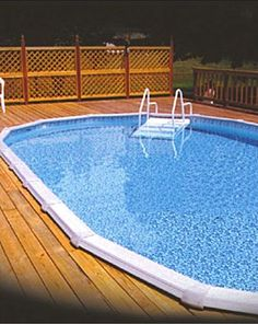 Above ground pool with deck around it