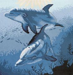 dolfijn Cross Stitch Charts, Cross Stitch Designs, Cross Stitch Patterns, Dolphins, Holiday Crafts, Needlework, Pattern Design, Nautical, Quilts