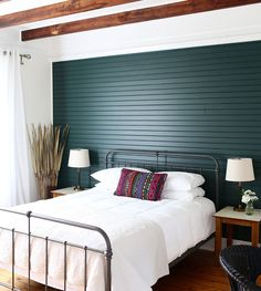 Design from A to Z: P is for Paneling, Design*Sponge. I like this behind the bed. Could almost be a headboard if need be. RM