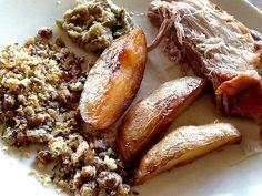 Pernil com batatas e farofa de feijão :: Pimenta na cozinha