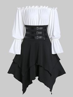 Buckle Strap Lace-up Layered Handkerchief Skirt with Poet Sleeve Bardot Top - -. - Buckle Strap Lace-up Layered Handkerchief Skirt with Poet Sleeve Bardot Top – – Cheapest and L - Mode Outfits, Fashion Outfits, Men Fashion, Female Fashion, Style Fashion, Fashion Sites, Petite Fashion, Fashion Black, Fashion Spring
