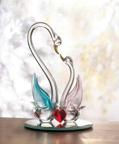 spun glass figurines - swans