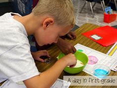 The first week back and visual lesson plans for week 2.  Check out this fun milk experiment.