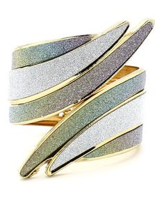 Another great find on #zulily! Gold & Silver Twisted Sparkle Hinge Bangle #zulilyfinds