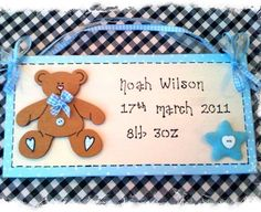 Baby Boy Birth Sign Plaque PERSONALISED with Name Date