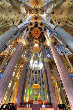 Interior Sagrada Familia by Hans Kool, via Flickr...one of the coolest pictures of the interior that I have stumbled upon
