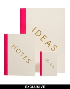 @ ASOS StudioSarah EXCLUSIVE Pack of Three To Do Ideas & Note Books