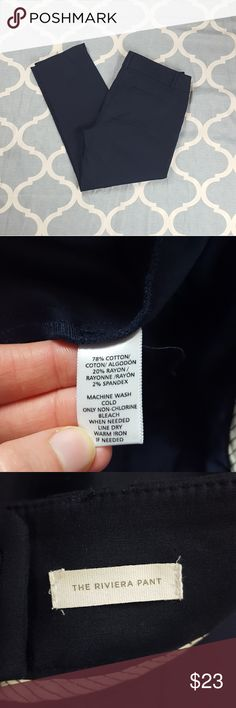 "LOFT Marisa Dress Pants Capri Navy Blue 12T Brand: Ann Taylor LOFT  Style:  Marisa Dress Pants, career, Capri, The Rivera Pant Color: Navy Blue Fabric: Cotton blend Tag Size: 12T Tall Condition:  Used, good  Approximate measurements taken when garment was laid flat- not stretch: Overall length: 36 "" Inseam:  27"" Rise:  10"" Waist (one side):  19""  E283 &e LOFT Pants Capris"