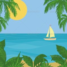 Sailing Ship in the Sea  #GraphicRiver         Sailing ship floating in the blue sea, the view from a tropical island.   Vector EPS 8 plus AI CS 5 plus high-quality Jpeg. Editable vector file, containing only vector shapes. No gradients. No transparencies.     Created: 8February13 GraphicsFilesIncluded: JPGImage #VectorEPS #AIIllustrator Layered: No MinimumAdobeCSVersion: CS5 Tags: art #beach #boat #float #flora #frigate #green #horizon #island #landscape #leaf #leaves #marine #nature…