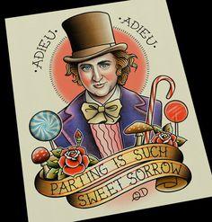 Willy Wonka Tattoo Flash Art Print by ParlorTattooPrints on Etsy