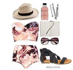 Un outfit para la playa.  #Aranzta #shoes #zapatos #ootd #outfit #spring #trend #tendencia #heels #bag #tote #bolsa #moda #fashion #sandals #sandalias #dress #polyvore #beach #playa
