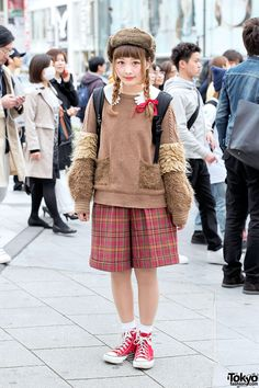 Frapbois Sweater & Cute Plaid Shorts Aki is a cutely styled 17-year-old resale shop staffer from Hiroshima