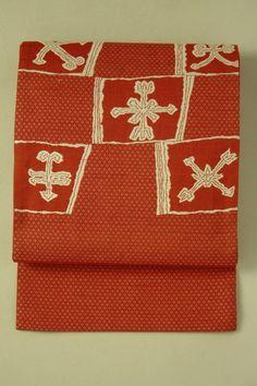 Fukuro obi / 丹色紬地 絣と抽象お太鼓柄 洒落袋帯   #Kimono #Japan http://global.rakuten.com/en/store/aiyama/