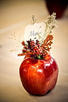fall apple wedding decor / http://www.himisspuff.com/fall-wedding-ideas-themes/11/