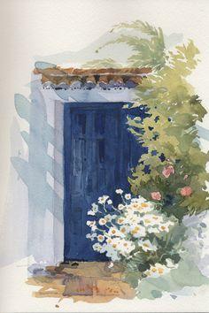 Original-Watercolour-Daisies-in-Spain-Elizabeth-Chalmers
