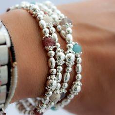 Sterling silver beaded bracelet with riverstone gemstones, adjustable bracelet