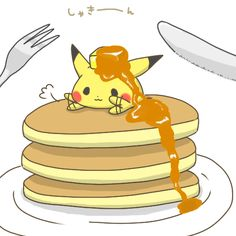 Happy National Pancake Day Pikachu on a stack of pancakes with a pat of butter and syrup on his head. Cute Pokemon Wallpaper, Cute Disney Wallpaper, Pokemon Images, Pokemon Pictures, Kawaii Chibi, Kawaii Art, Kawaii Drawings, Cute Drawings, Pokemon Go