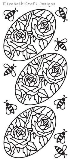 Elizabeth Craft Designs Peel-Off Sticker -2559B Oval Roses Black
